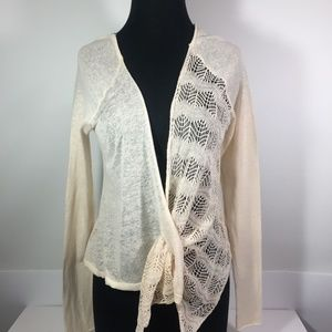 Anthro Knitted & Knotted  Cream Cardigan Small